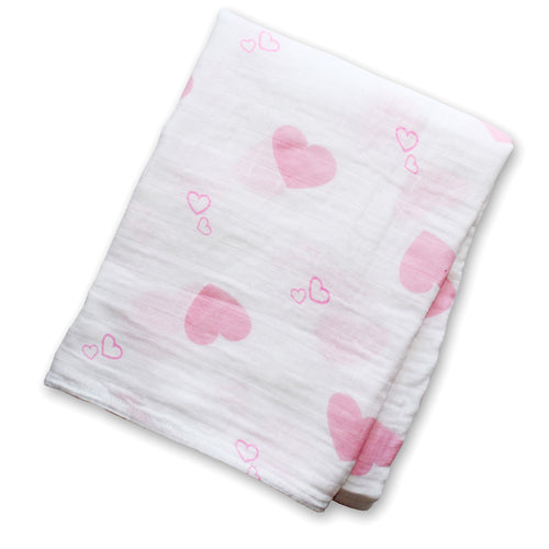 Lulujo Cotton Muslin Swaddle - Pink Hearts