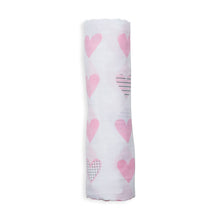 Load image into Gallery viewer, Lulujo Cotton Muslin Swaddle - Pink Hearts