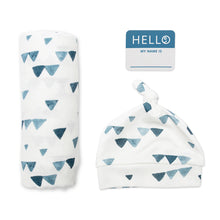 Load image into Gallery viewer, Lulujo Hello World Blanket and Knotted Hat - Navy Triangles