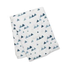 Load image into Gallery viewer, Lulujo Bamboo Muslin Swaddle - Navy Triangles
