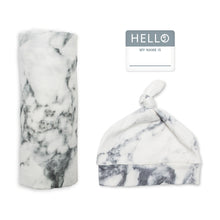 Load image into Gallery viewer, Lulujo Hello World Blanket and Knotted Hat - Marble