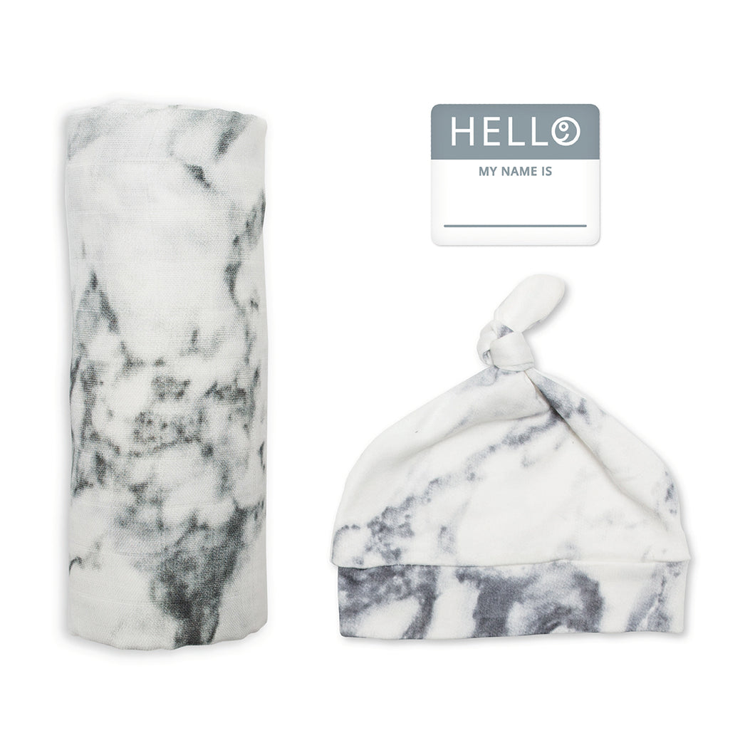 Lulujo Hello World Blanket and Knotted Hat - Marble