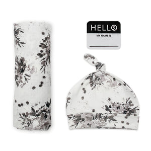 Lulujo Hello World Blanket and Knotted Hat - Black Floral