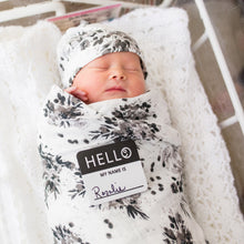 Load image into Gallery viewer, Lulujo Hello World Blanket and Knotted Hat - Black Floral