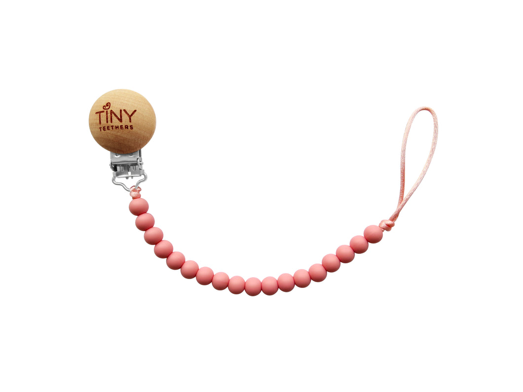 Tiny Teethers Pacifier Clip - Rose