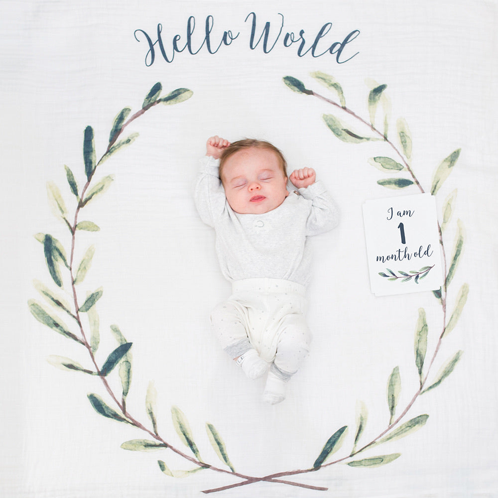 Lulujo Baby's 1st Year - Hello World Wreath