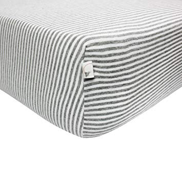 Burt's Bees Organic Crib Sheet - Heather Grey Stripe