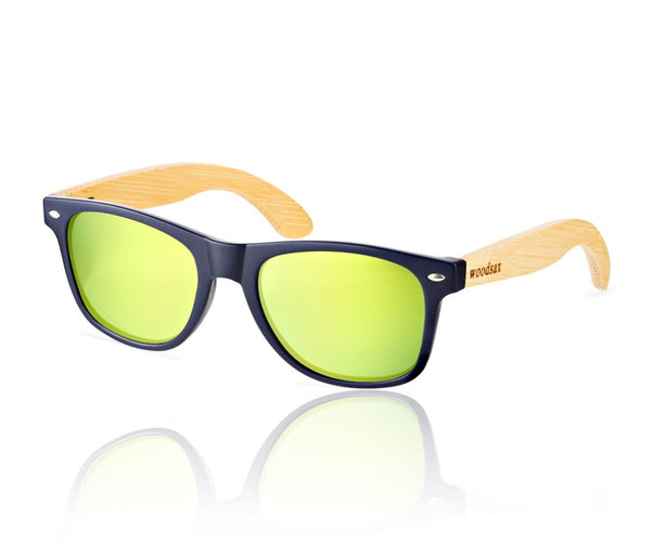 Blue Mirror model (lenses green)- wooden sunglasses frames - WOODSAX®