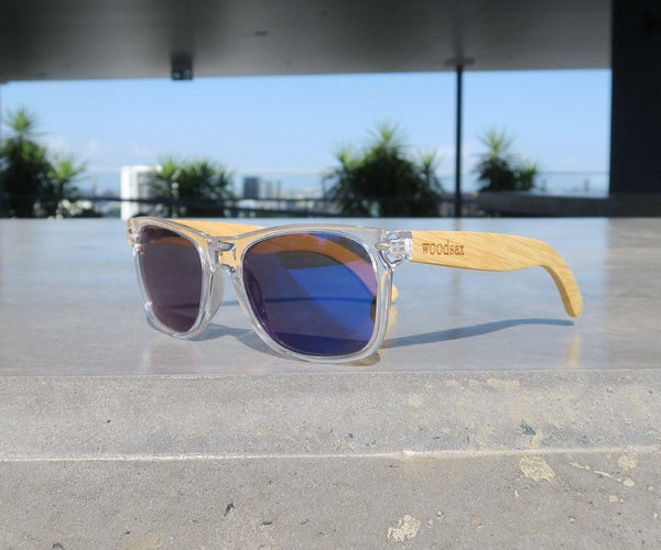 Clear mirror- Wooden sunglasses - Woodsax