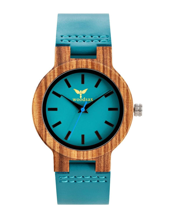 Azur Turquoise - wooden watches for women