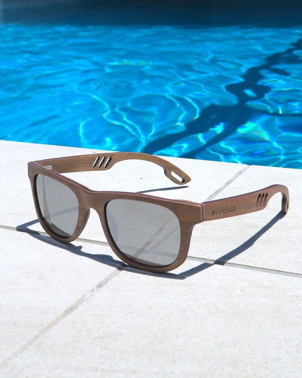 Designer model Woodsax- wooden glasses with silver lenses