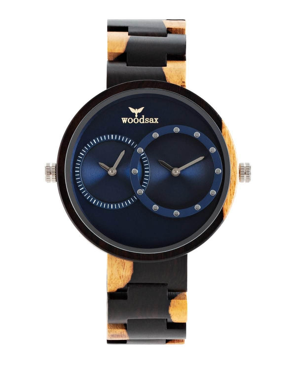 Twotime blue - wooden watch for ladies & gentlemen