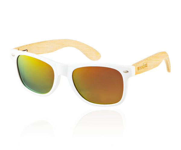 White mirror- Wooden sunglasses - Woodsax