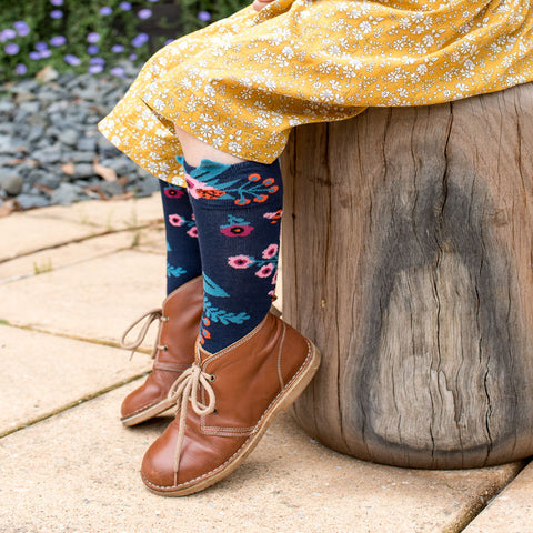 Garden Knee High Socks - Navy