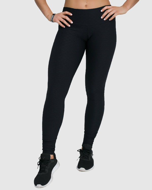 jacquard leggings black front view