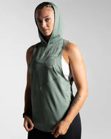 3 Panel Sleeveless Hoodie-Black Mens