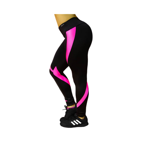 Curvy Stripe Leggings-Black/SuperPink