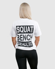 Squat, Bench, Deadlift Women's T-Shirt - White