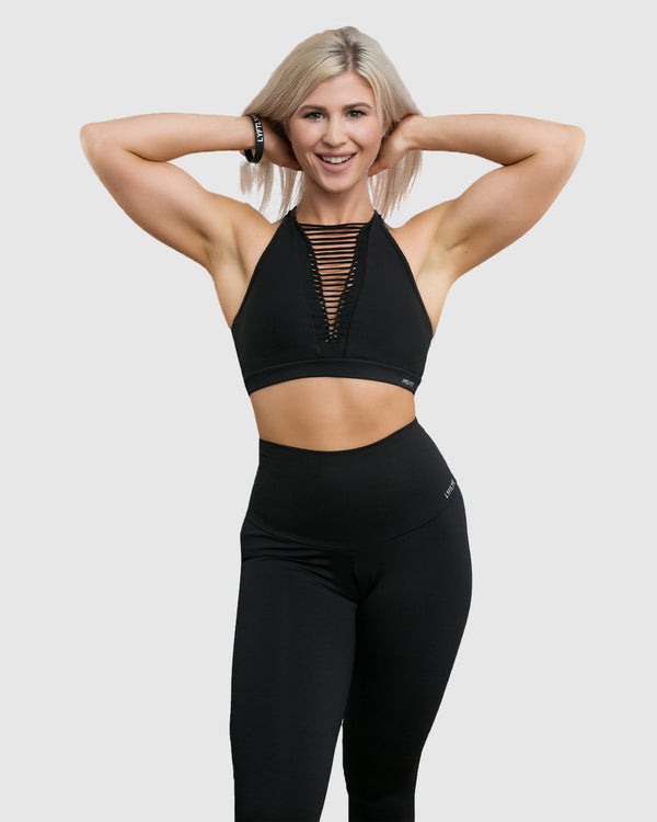 string front sports bra - black front view