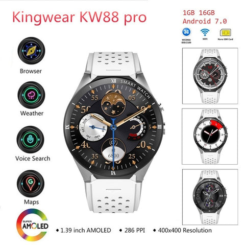 Image of KingWear KW88 Pro 3G Smartwatch Phone Android 7.0 Quad Core 1.3GHz 1GB 16GB Bluetooth 4.0 Smart Watch Phone GPS Wearable Devices- ULTRABEAST FITNESS