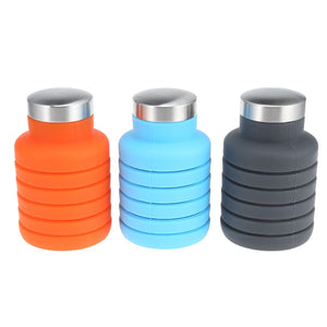 Silicone Retractable Folding water or protein shake bottle.