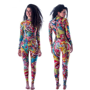 Open image in slideshow, 3mm Women  colorful One Piece Full Body Neoprene Wetsuit- ULTRABEAST FITNESS