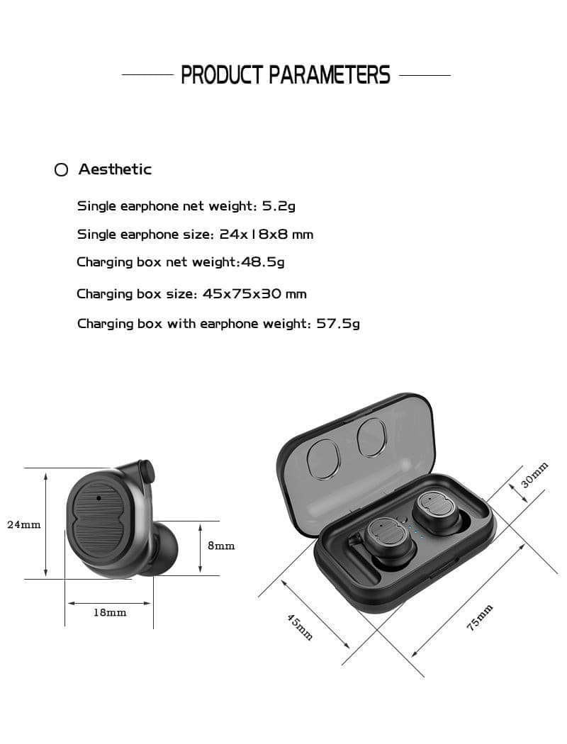 Wireless Bluetooth Earphone With Charging Box