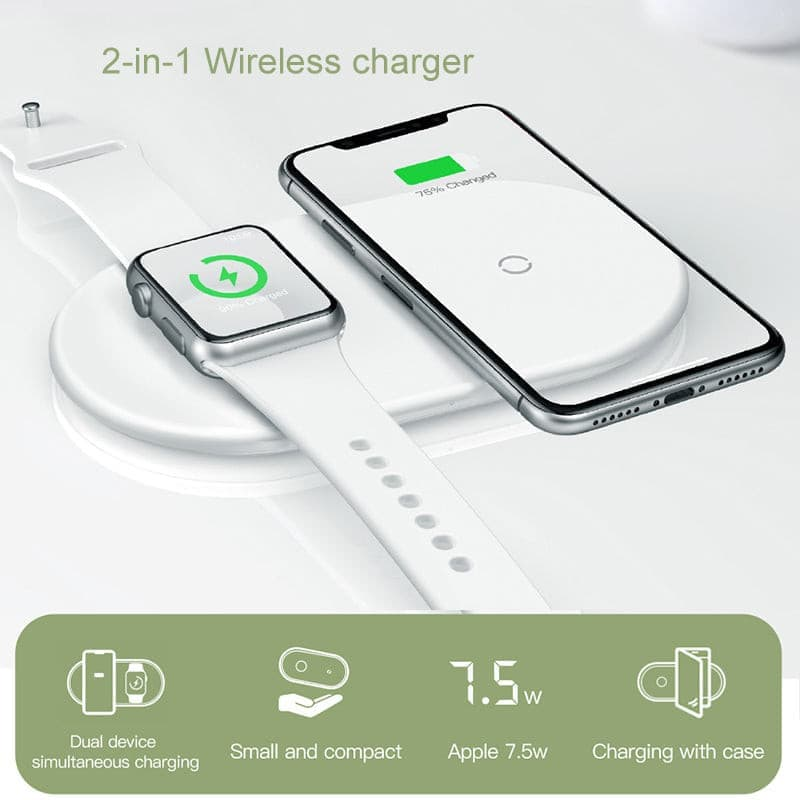 2 in 1 Wireless Charger Pad For Apple Watch iPhone X Xs Max- ULTRABEAST FITNESS