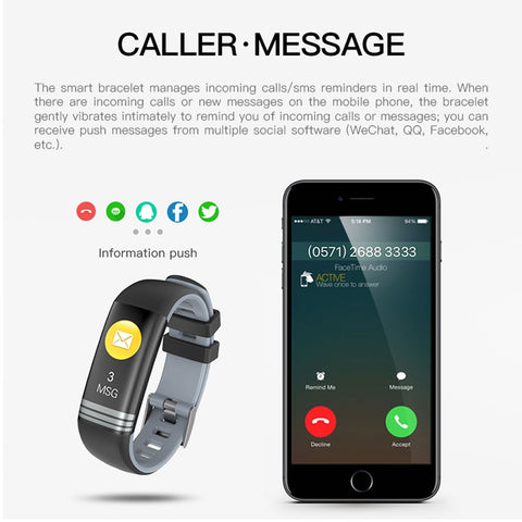 Smart Fitness Bracelet Color Screen Sport Watch Band For Men Women