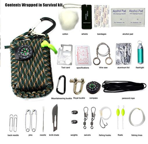 29 in 1 SOS Emergency Equipment bag field survival box self-help for Camping Hiking saw/fire- ULTRABEAST FITNESS