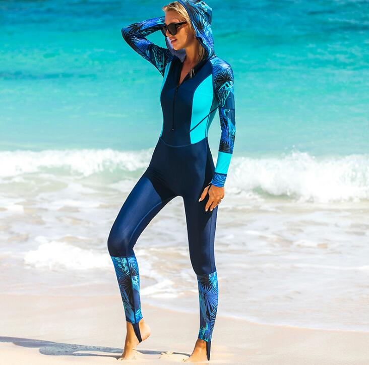 Floral Print Women's One-piece Surf Swim Wet Suit