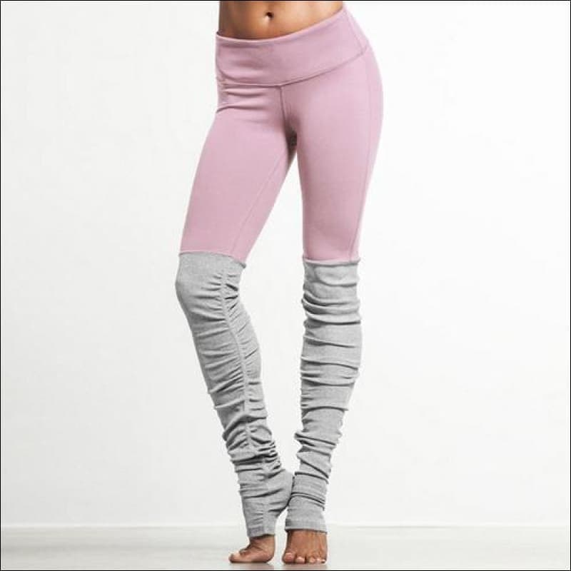 Pink Patchwork Yoga Pants Fitness Skinny - Womens Clothing