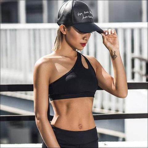 Sexy One Shoulder Solid Sports Bra Women Fitness - L / Black - Womens Clothing