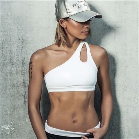 Sexy One Shoulder Solid Sports Bra Women Fitness - L / White - Womens Clothing