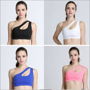Sexy One Shoulder Solid Sports Bra Women Fitness - Womens Clothing