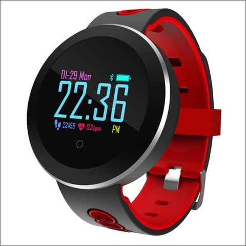 Smart Watch W/ Heart Rate Monitoring And Step Tracker - Red - Digital Wristwatches