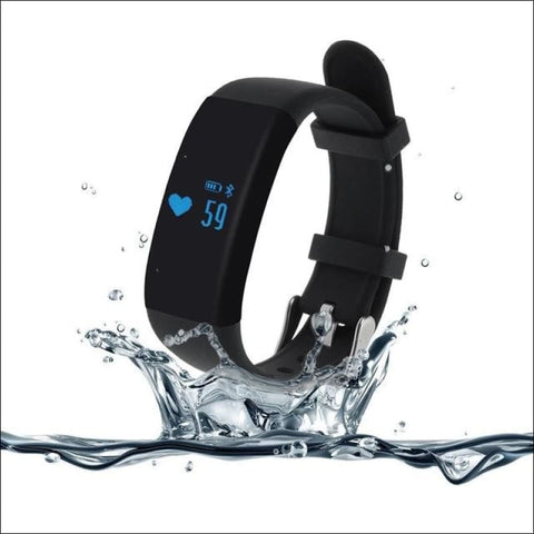 Smartband Waterproof Fitness Watch. - Black - On Wrist