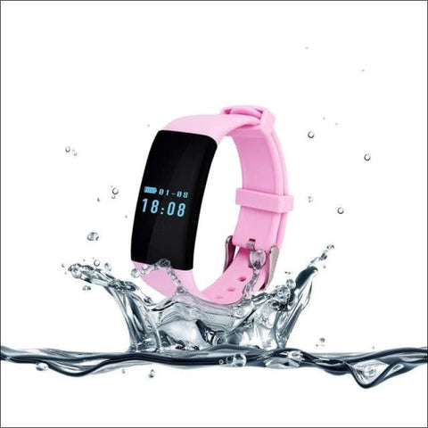 Smartband Waterproof Fitness Watch. - Pink - On Wrist