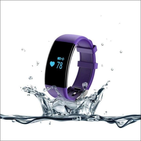 Smartband Waterproof Fitness Watch. - Purple - On Wrist
