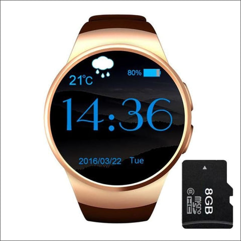 Image of Smartwatch W/android Support - Gold Add 8G Card - On Wrist