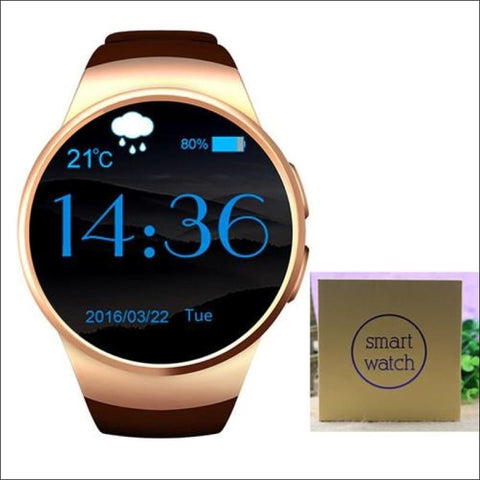 Smartwatch W/android Support - Gold With Box - On Wrist