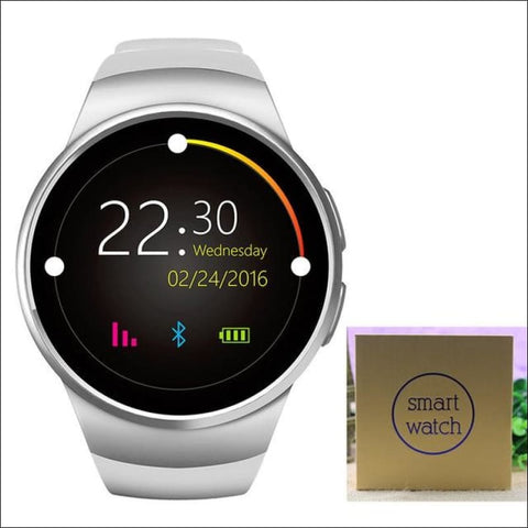 Image of Smartwatch W/android Support - Silver With Box - On Wrist