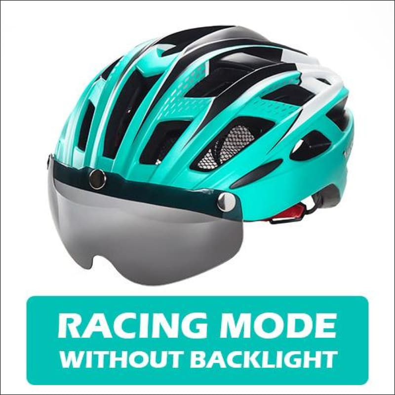 Victgoal Unisex Visor Helmets - Cyan No Backlight / China