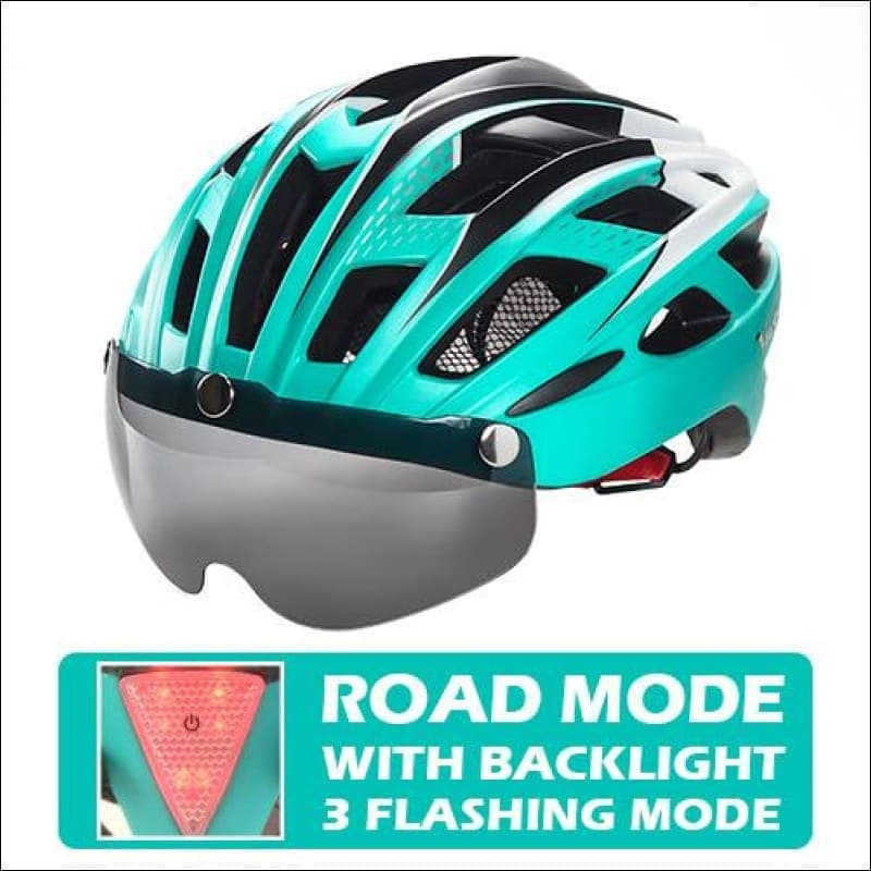 Victgoal Unisex Visor Helmets - Cyan With Backlight / China