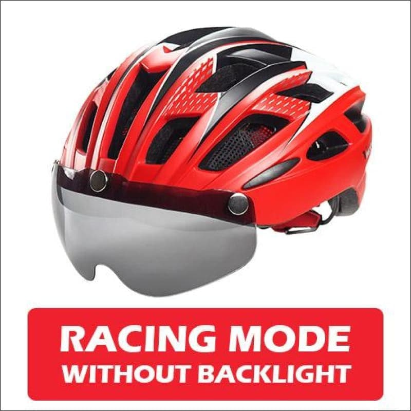 Victgoal Unisex Visor Helmets - Red No Backlight / China