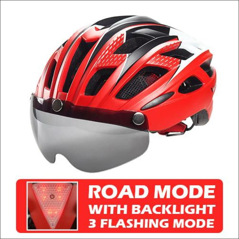 Victgoal Unisex Visor Helmets - Red With Backlight / China