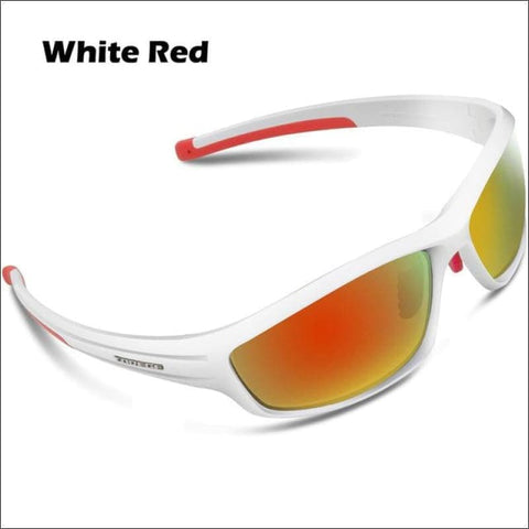 Womens Polarized Hiking Sunglasses - White Red - Eyewear