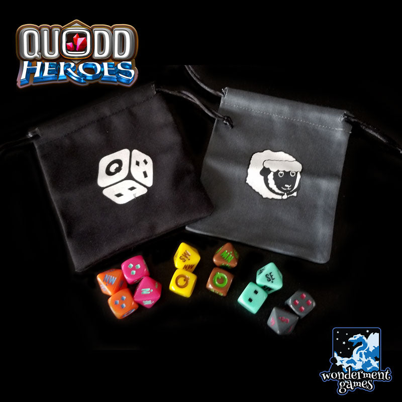 Dice and  Cloth Bags for Quodd Heroes