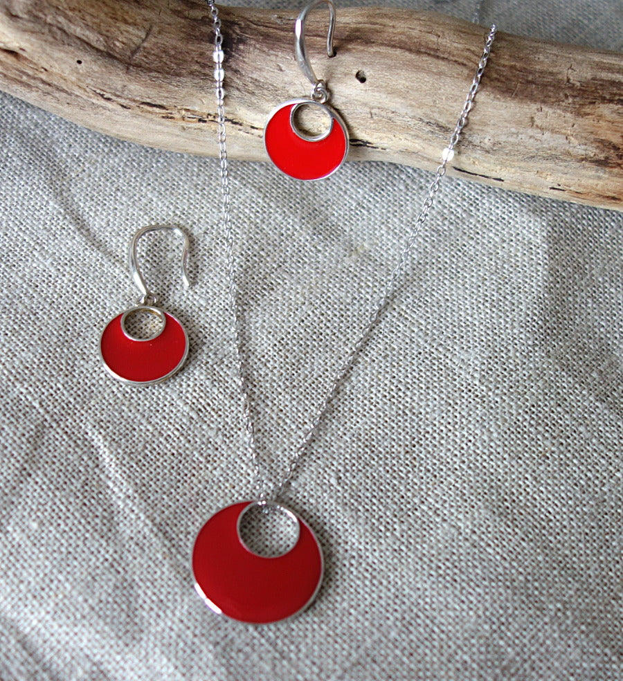 Collier Argent Email motif rond