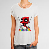Deadpool Riding a Unicorn Woman's T-Shirt | Leaftunes